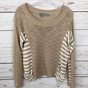 360 Sweater Linen Blend Pocket Striped Sweater Sml